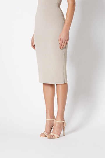 CREPE KNIT SLIT BACK SKIRT OYSTER