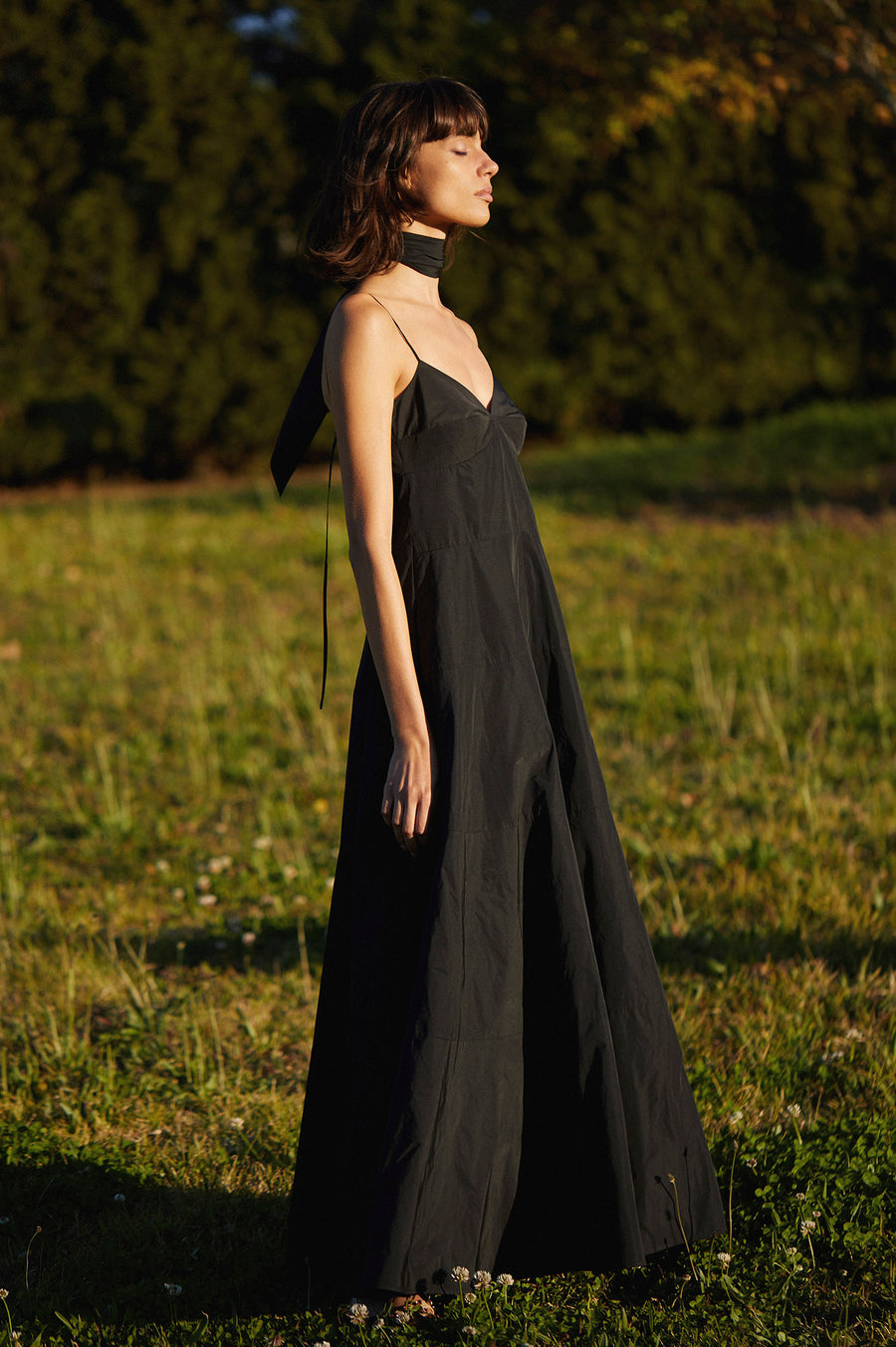 TAFFETA MAXI DRESS BLACK