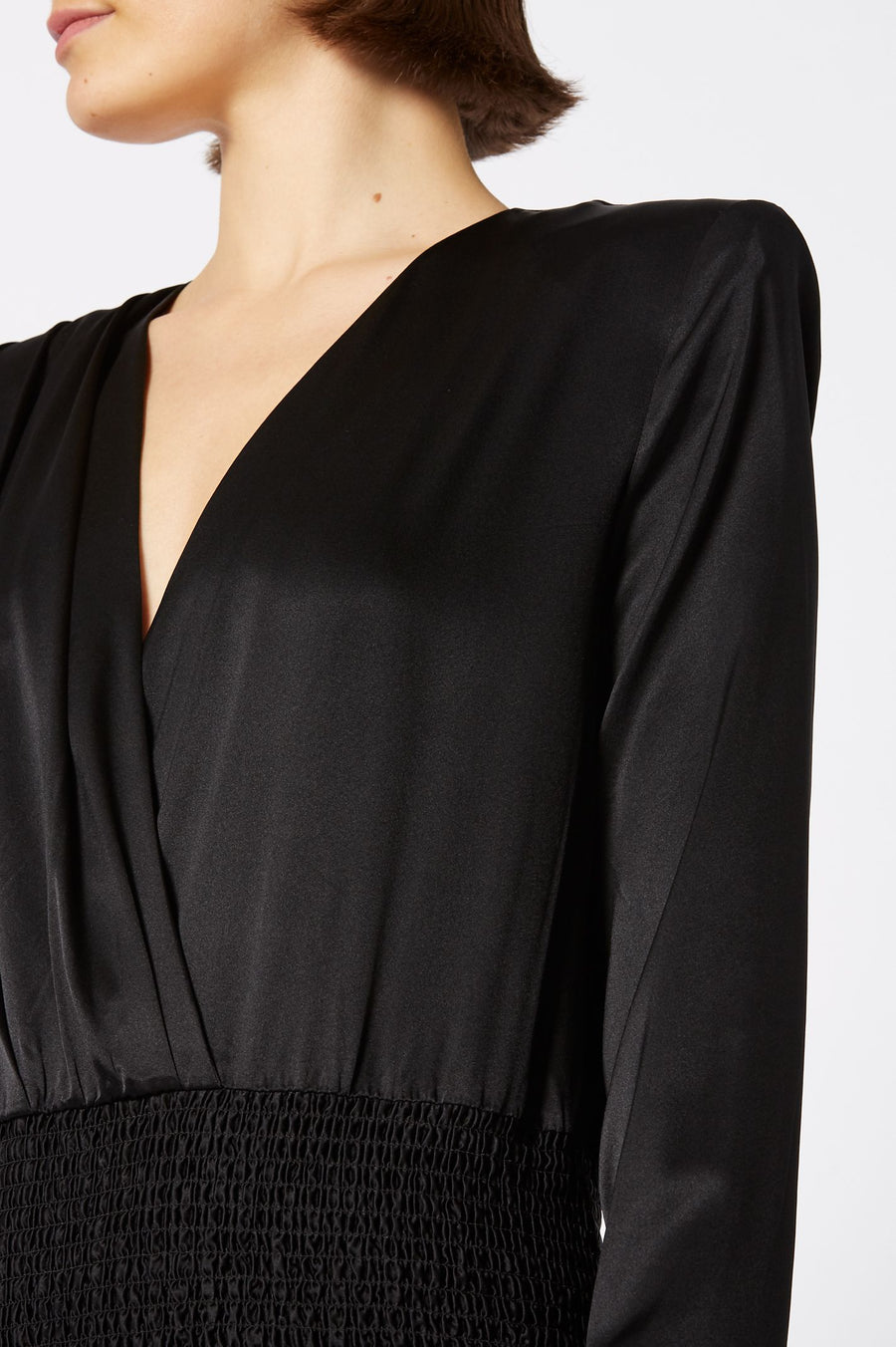 Silk Pleat Front Blouse, Color Black, Deep V Neck, Shirred Waistband