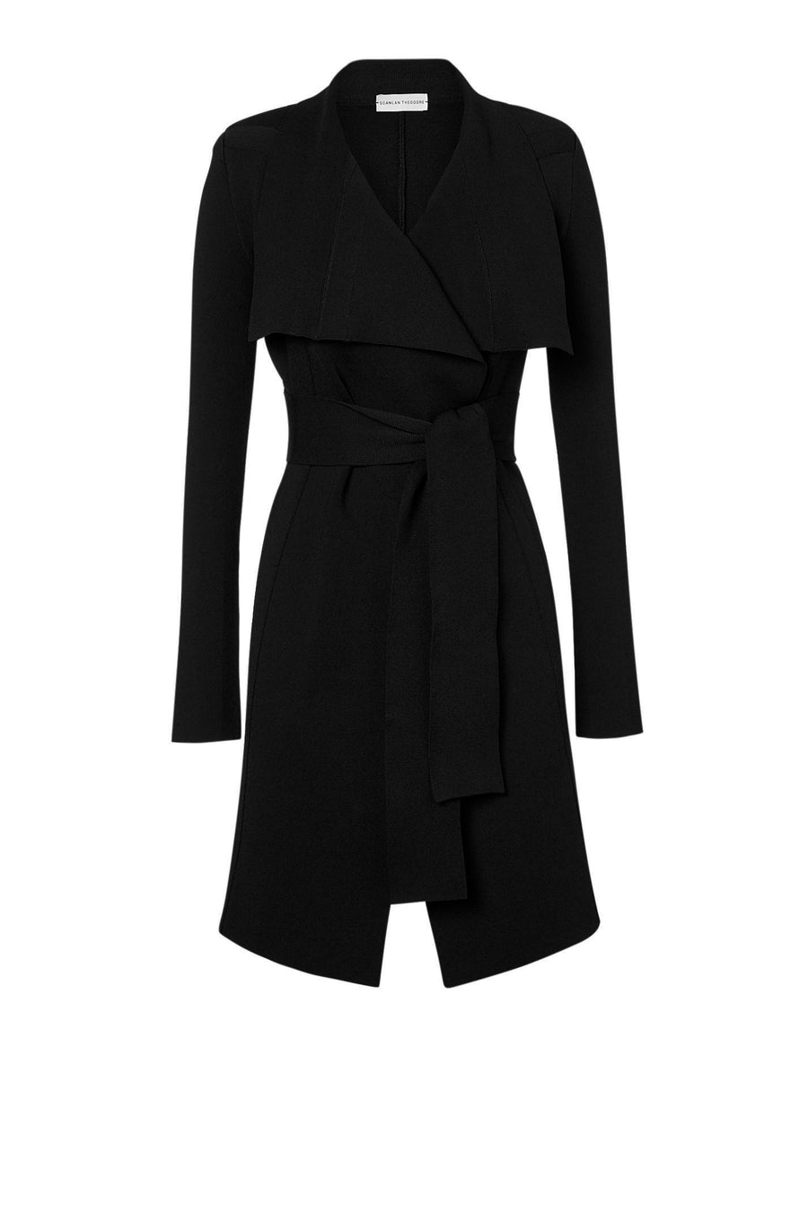 DRAPE FRONT COAT BLACK
