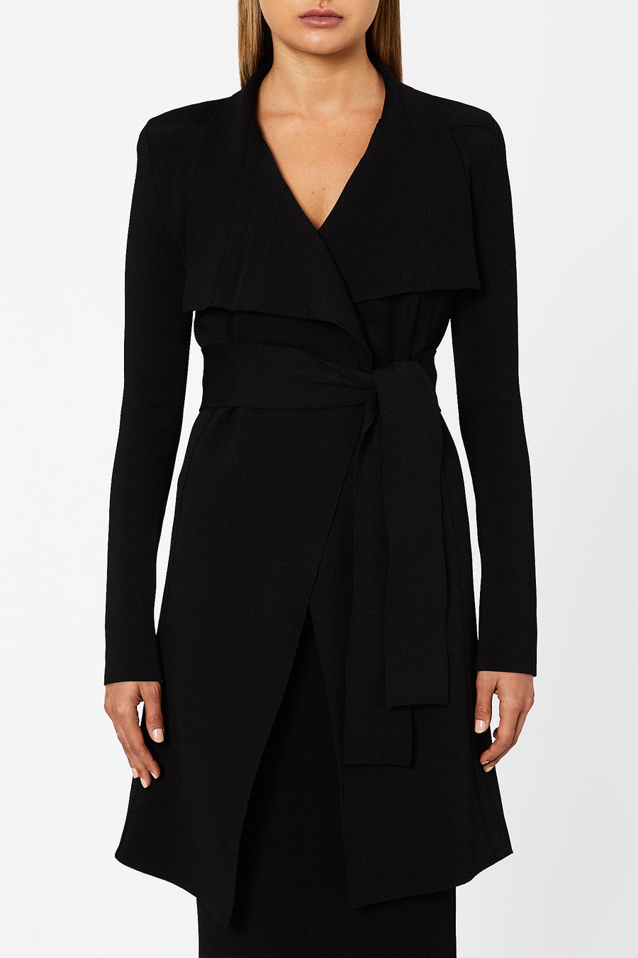 CREPE KNIT DRAPE FRONT COAT BLACK
