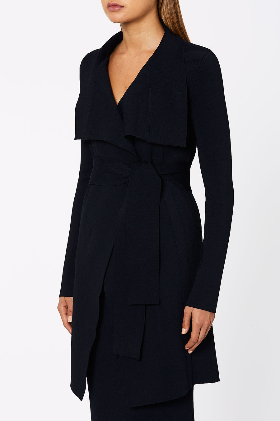 The Crepe Knit Drape Front Coat is a tailored style from our signature Drape Front Jacket.