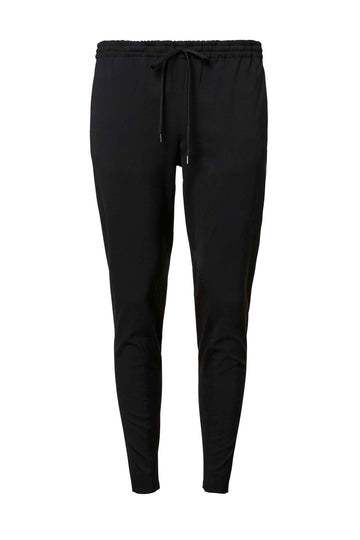 CREPE TRIM TROUSER BLACK, BLACK color