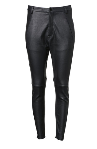 STRETCH LEATHER SLIM LOW RISE TROUSER
