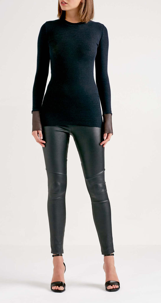 STRETCH LEATHER CROPPED LEGGING