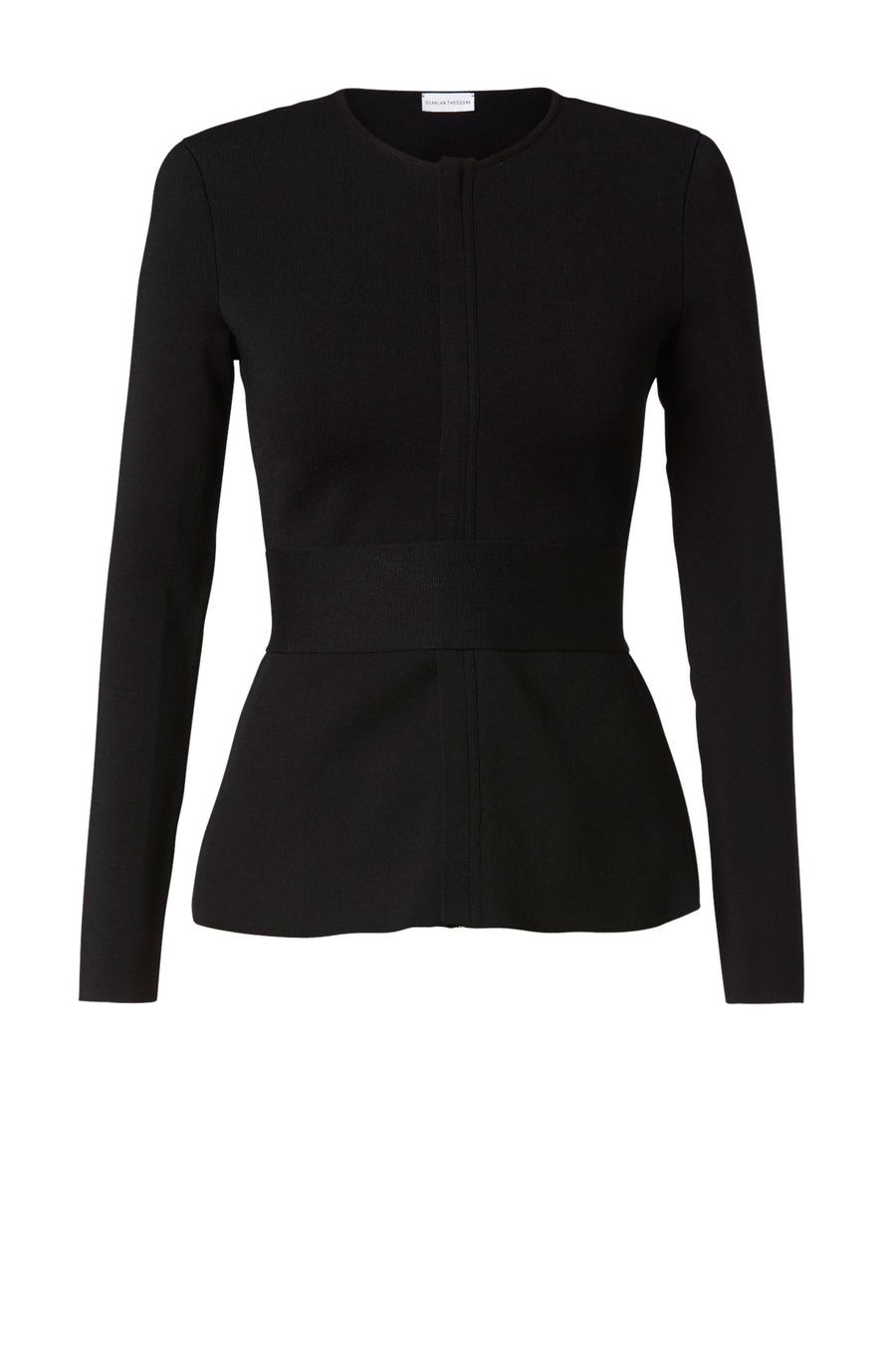 CREPE KNIT CURVED HEM JACKET LONG SLEEVES BLACK