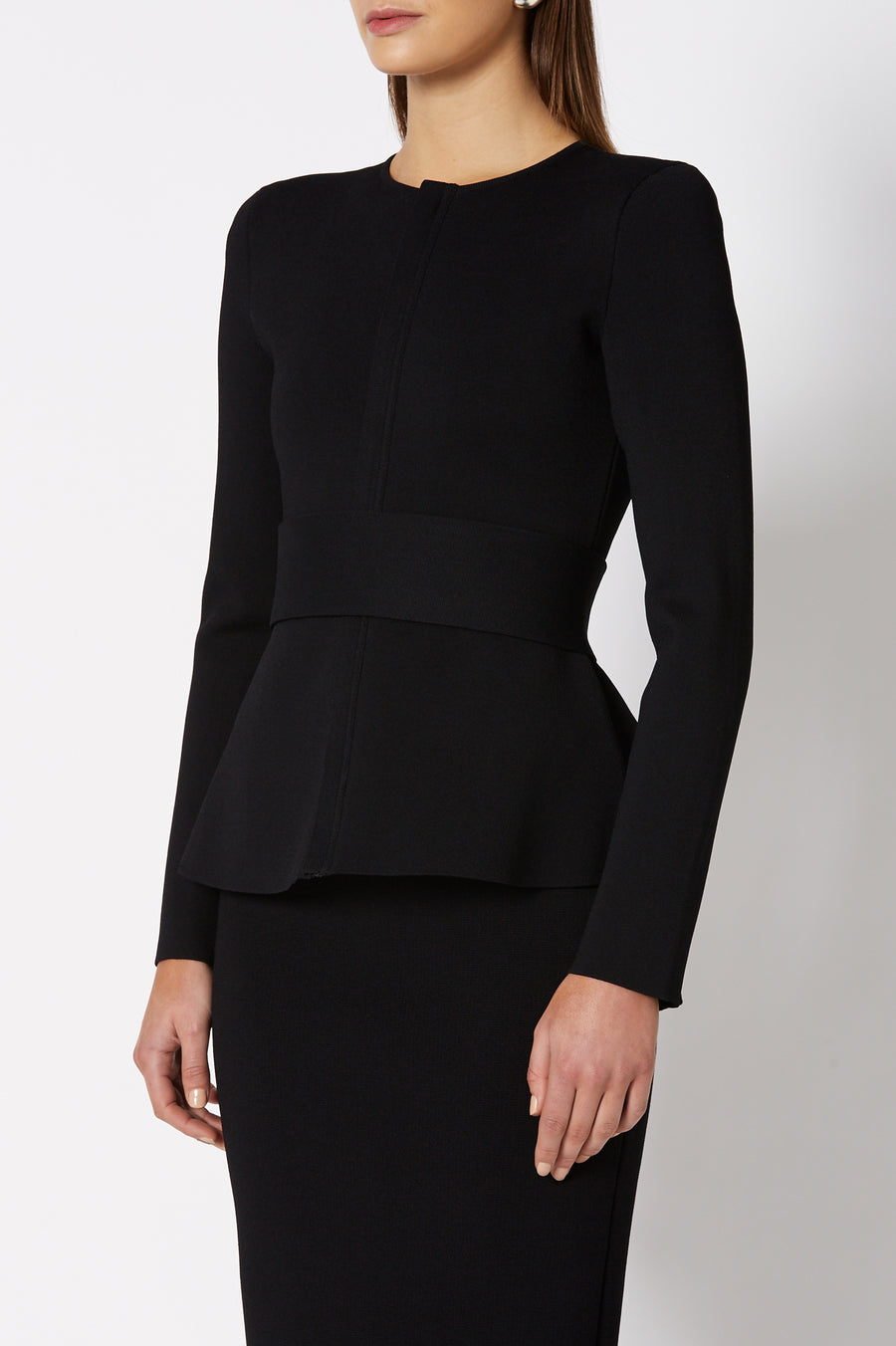 CREPE KNIT CURVED HEM JACKET BLACK