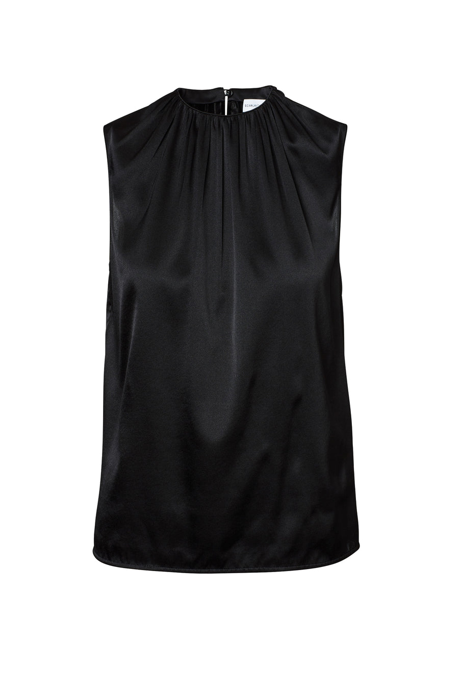 Silk Satin Tank, cut on the bias, soft drape with a slightly loose silhouette, High Neck, Color Black