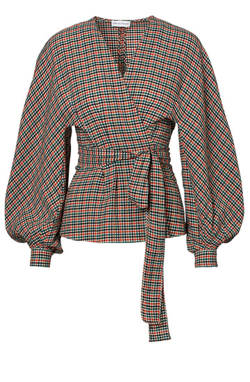 GINGHAM COCOON SLEEVE BLOUSE EMERALD, EMERALD color