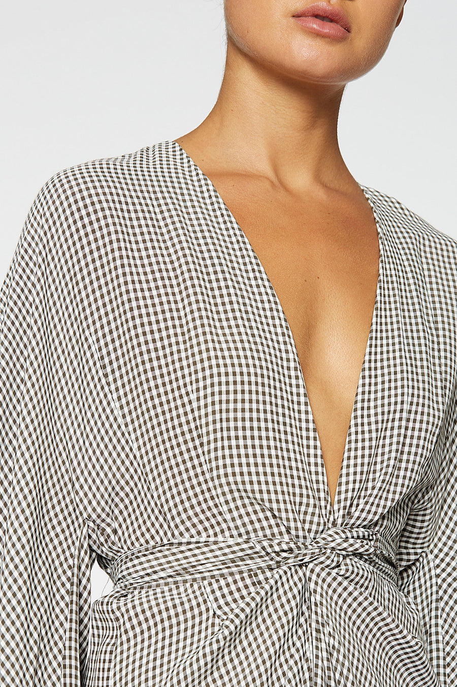Gingham Wrap Front Dress, wrap around, billowing sleeves hidden side pockets, color black white