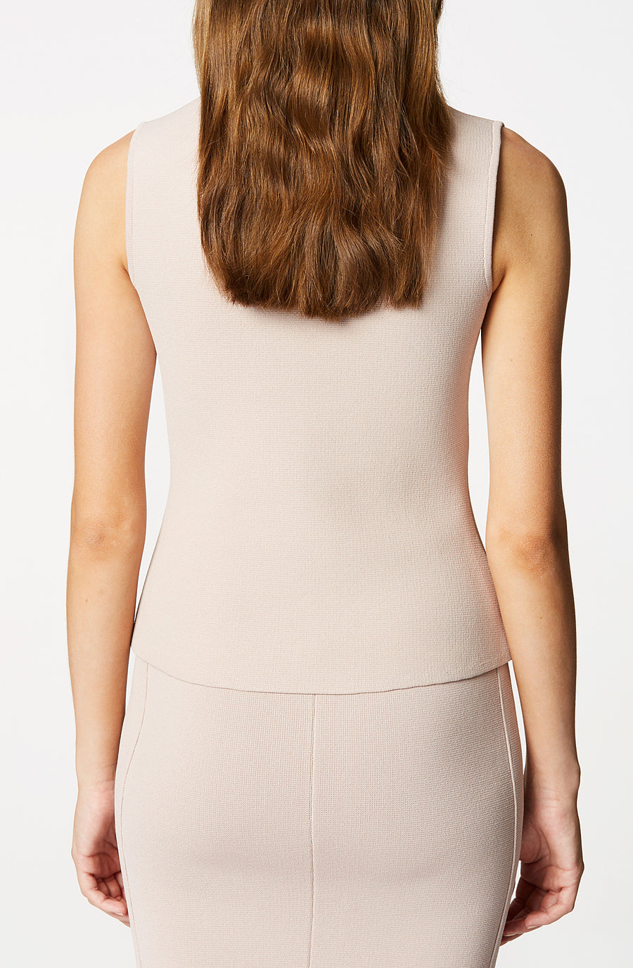 CREPE KNIT MILANO TANK, MINK color