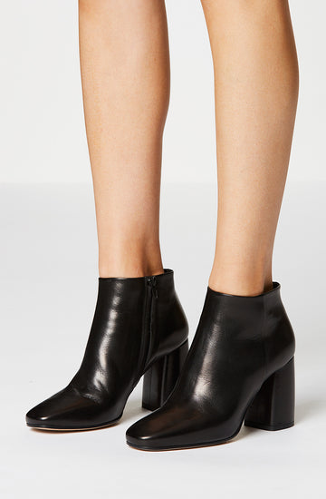 Ankle Boot 8.5,. Italian nappa leather and Italian suede, curved heel, square toe, leather lining and a leather sole, Color Nero