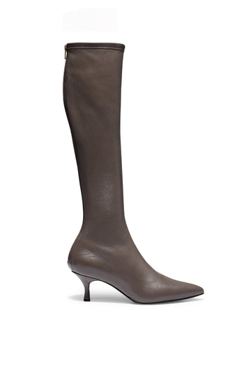 Stretch Leather Knee High Boot 6, fitted pointed toe boot, centre back zip