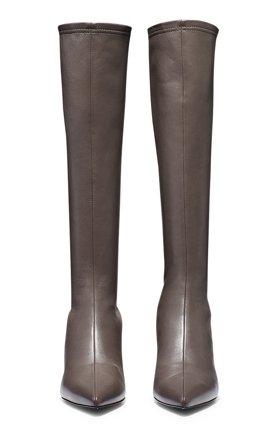 Stretch Leather Knee High Boot 6, fitted pointed toe boot, centre back zip, leather lining, leather sole, italian lamb nappa leather, color Char