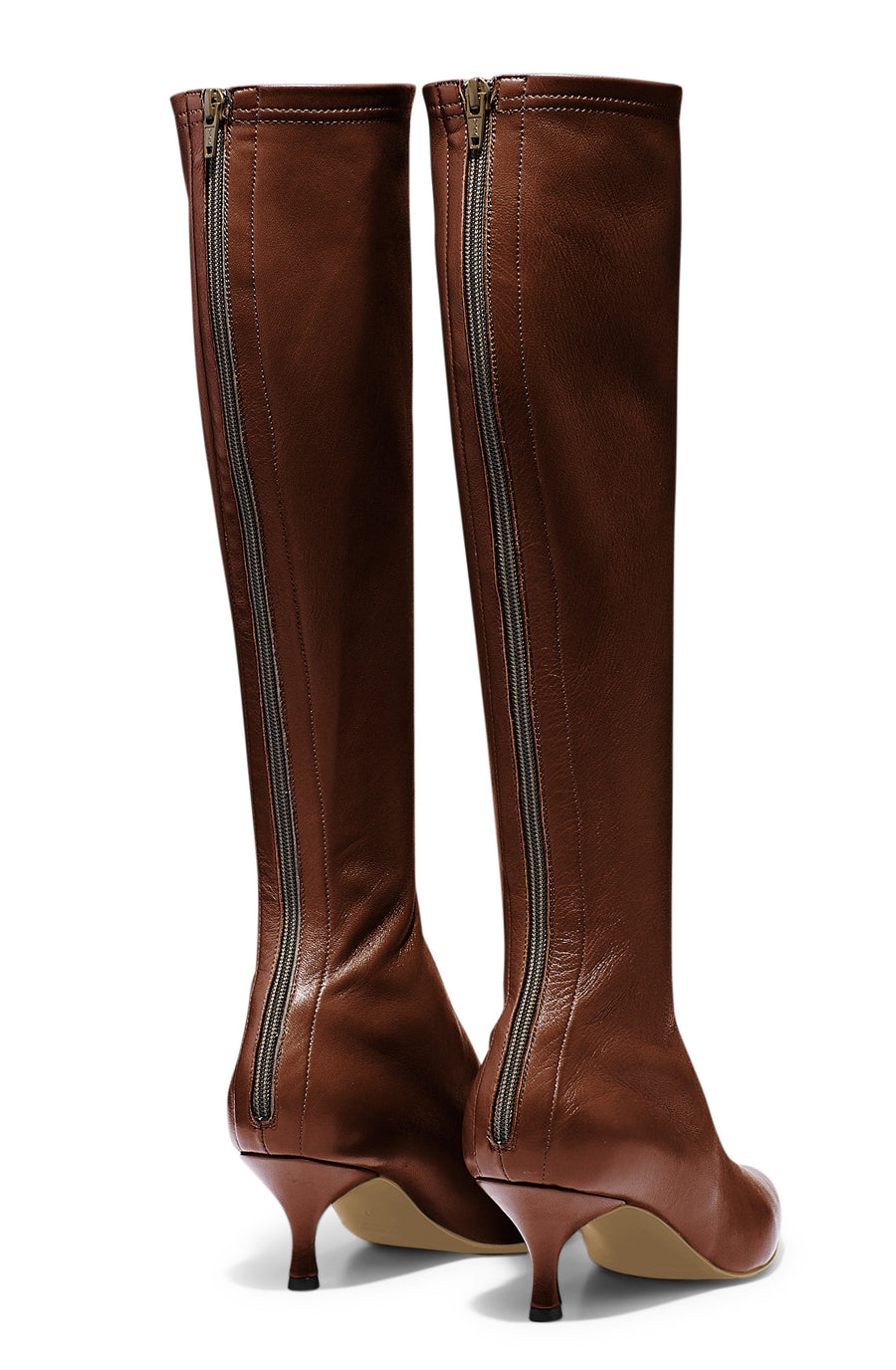 Stretch Leather Knee High Boot 6, fitted pointed toe boot, centre back zip, leather lining, leather sole, italian lamb nappa leather, color cognac