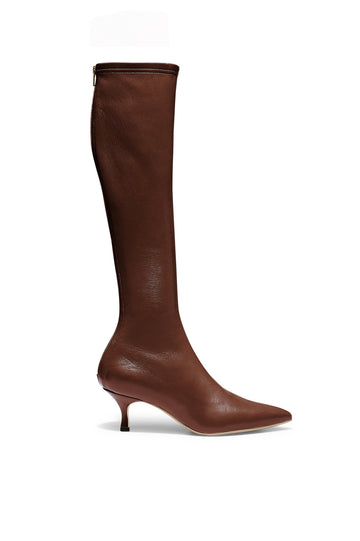 Stretch Leather Knee High Boot 6, fitted pointed toe boot, centre back zip,