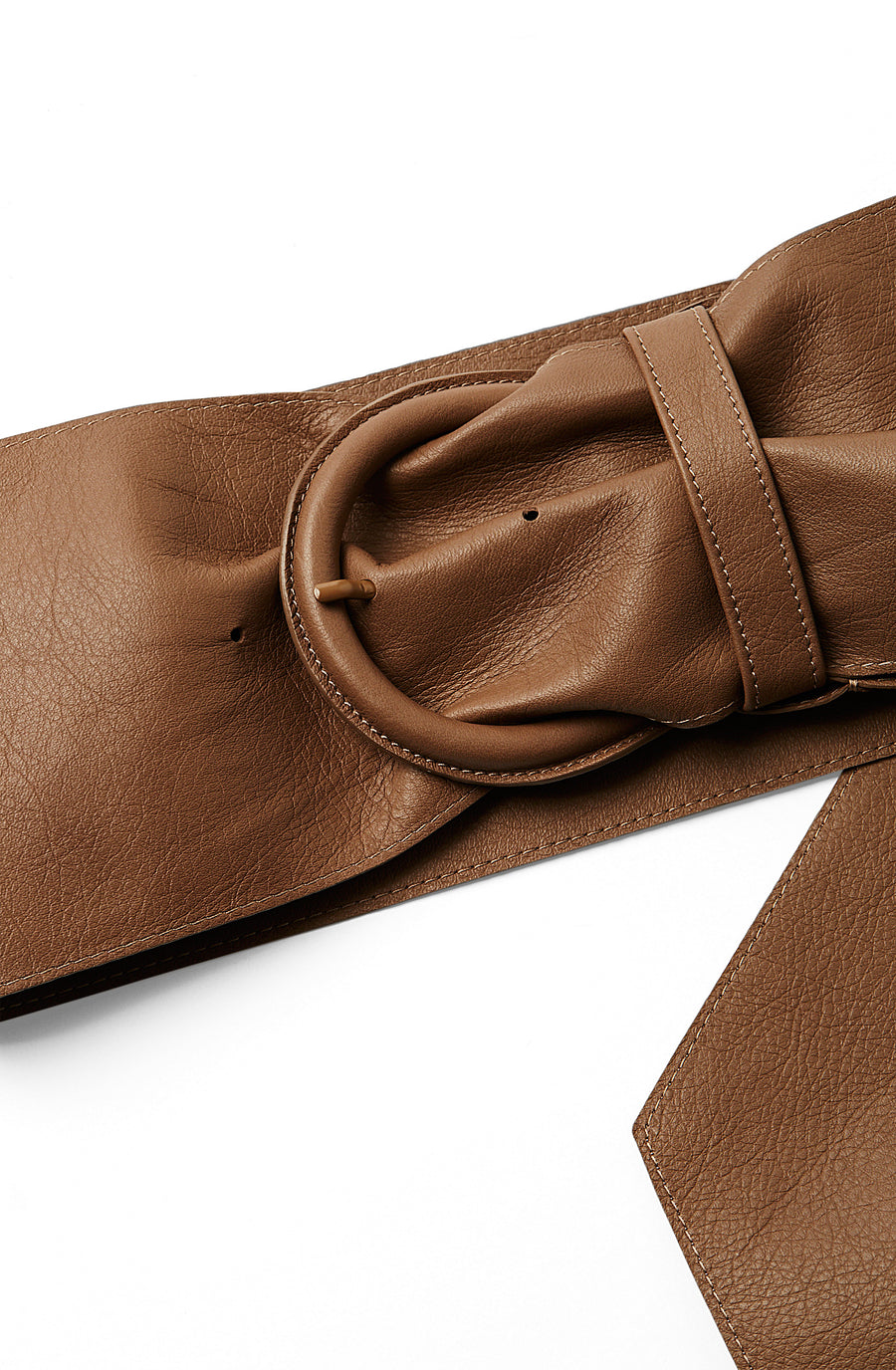 Ruched Leather Belt, soft nappa leather, leather covered buckle, tapered witH widest point measuring 14.5cm, color taupe