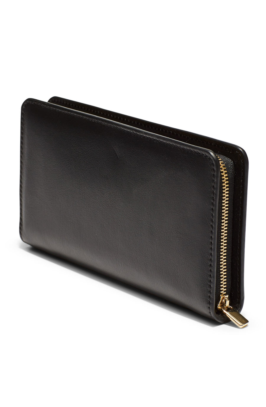 Large Wallet, 8 credit card slots, zip enclosed coin purse, two internal compartments, suede lining, gold contrast zip, gold embossed logo, color nero