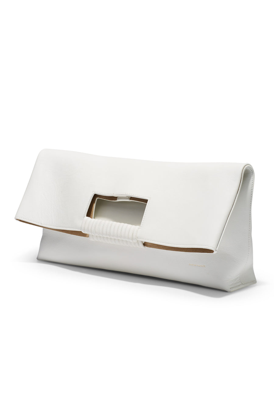 Folded Tote, bound leather handle, suede lining, magnetic closure, internal zipper pocket, color bianco