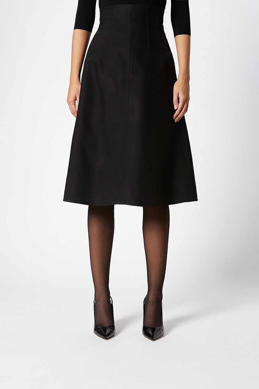 Classic A Line Skirt ,sits at your narrowest point, A-line silhouette, falls just below knee, Color Black