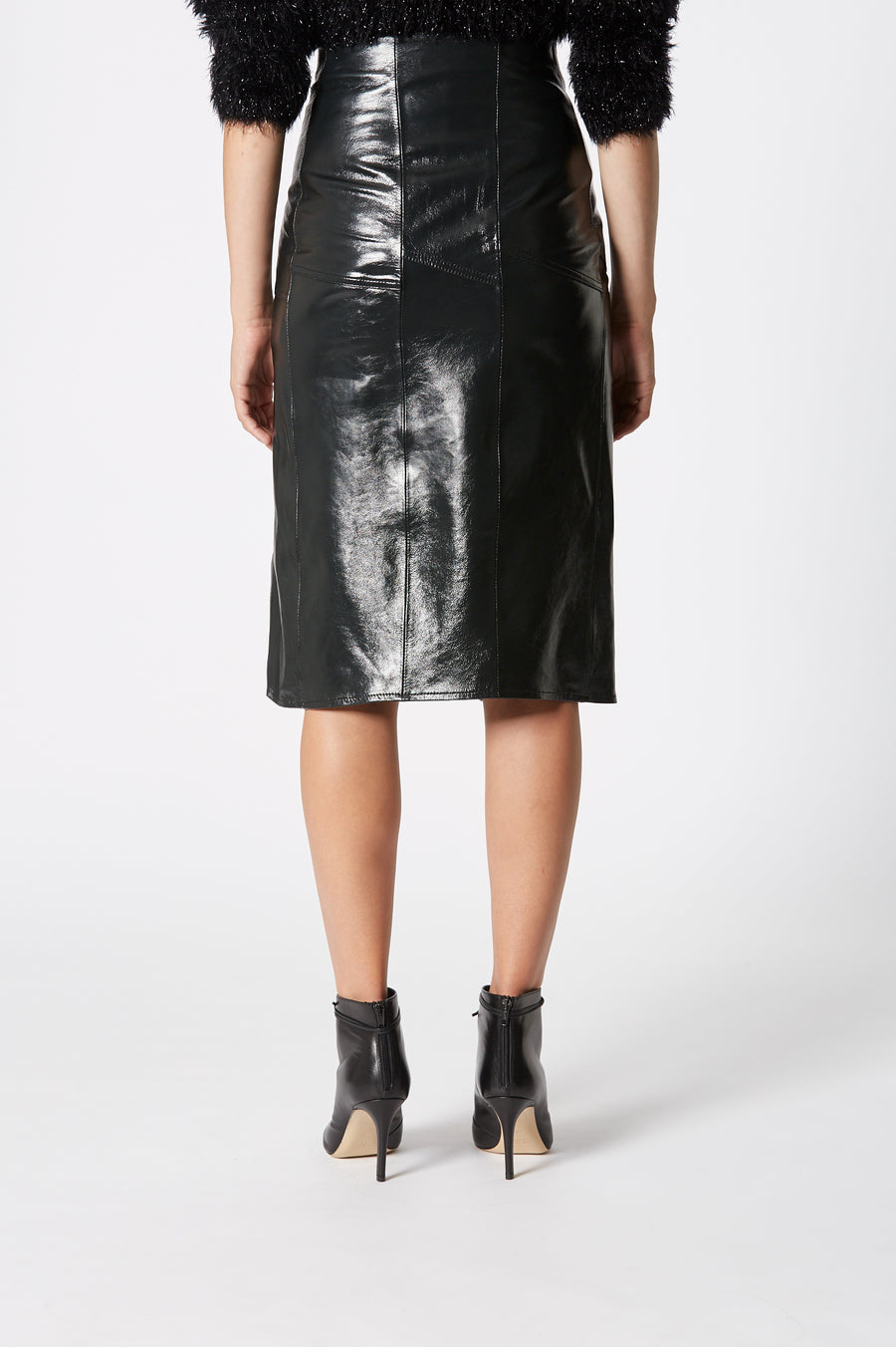 Leather Panel Skirt, 100% leather, concealed hook and zip fastening at the front, sits high on waist, falls just below knee, Color Midnight