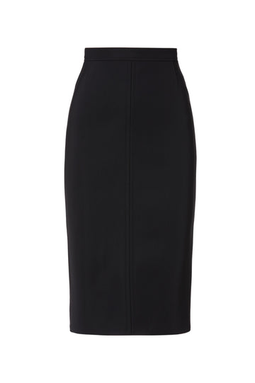 Scuba Pencil Skirt, elasticated waistband, designed to sit high on waist, slim silhouette, falls just below knee, Color Black