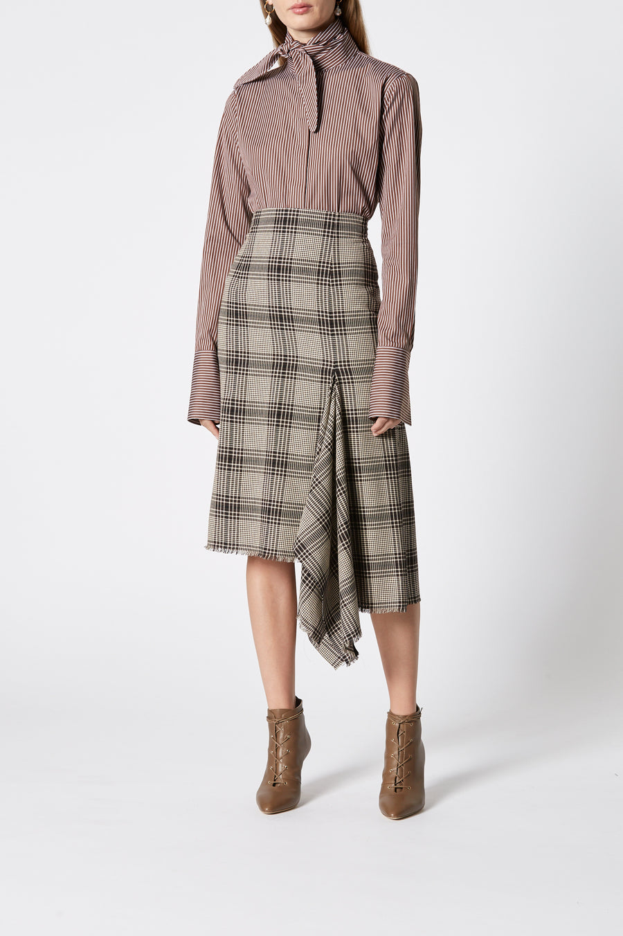 Plaid Draped Hem Skirt, asymmetrically cut in a neat A-line, draped insert, falls just past knee, high waisted, color coffee