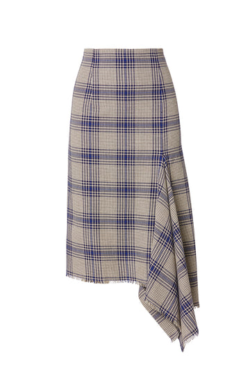 Plaid Draped Hem Skirt, asymmetrically cut in a neat A-line, draped insert, falls just past knee, high waisted, color navy