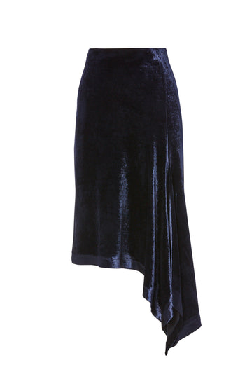 Velour Draped Skirt, high waist, draped detail, asymmetric hem, color navy