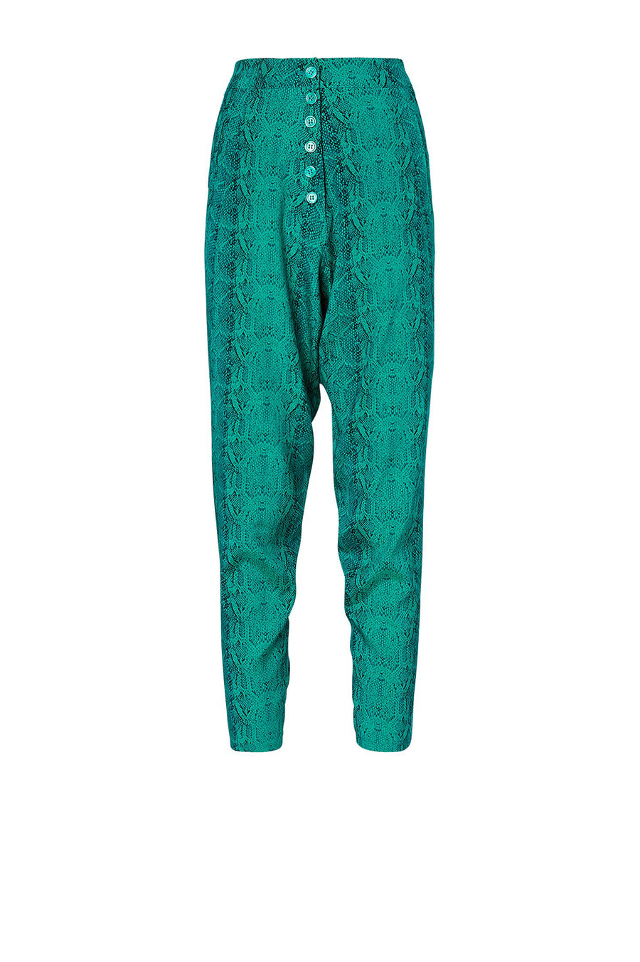 SILK LOW RISE BUTTON PANT EMERALD