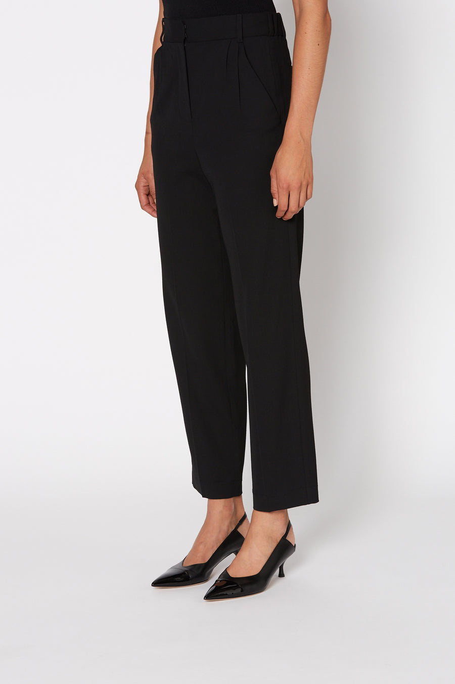 Tailored Soft Trouser, high waist tailored pant, falls just above the ankle, waistband and pressed creases through the slim legs, Color black