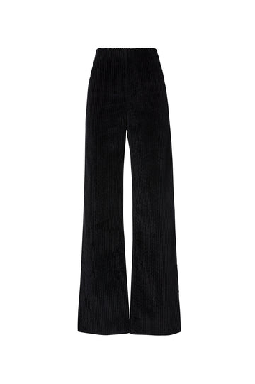 Cord Wide Leg Trouser, high waist, loose and relaxed fit, Color Black