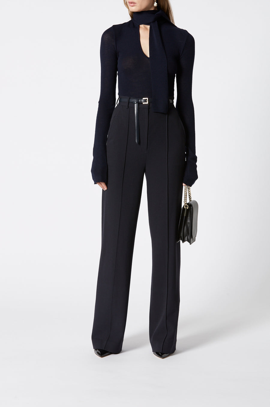 Twill Wool Trouser, tailored trouser, high waist, zip and button fastening, belt loops, pressed creases through the front, wide-leg silhouette, Color Navy