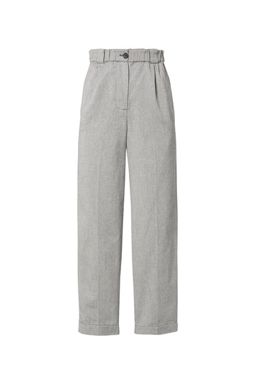 Soft Trouser, high waisted pant, falls just above the ankle, zip and button fastening, belt loops on elasticized waistline, slim legs, color speckle