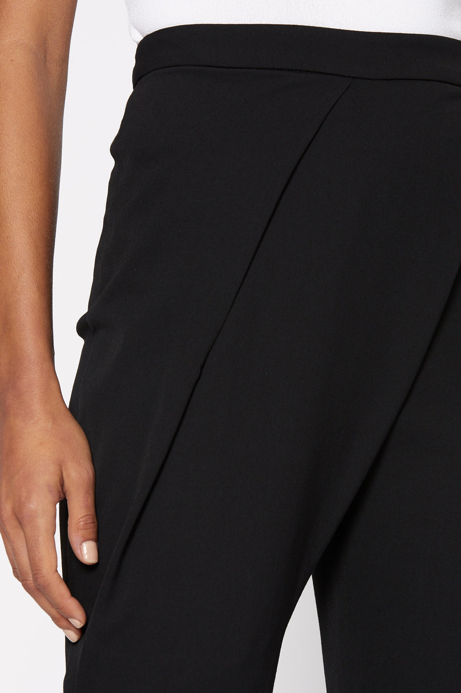 Drape Front Trouser, tailored trouser, sits high on the waist, slim-leg silhouette, hits just above the ankle, color Black