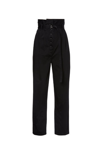 Pleat Trouser, high waist, pleats to accentuate the high rise shape, button fastening, tie belt, falls just above ankle, Color Black