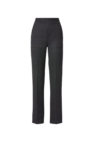 Wool Trouser, tailored trouser, high waist, slim leg silhouette, inseam pockets, zip and button fastening, Color Black