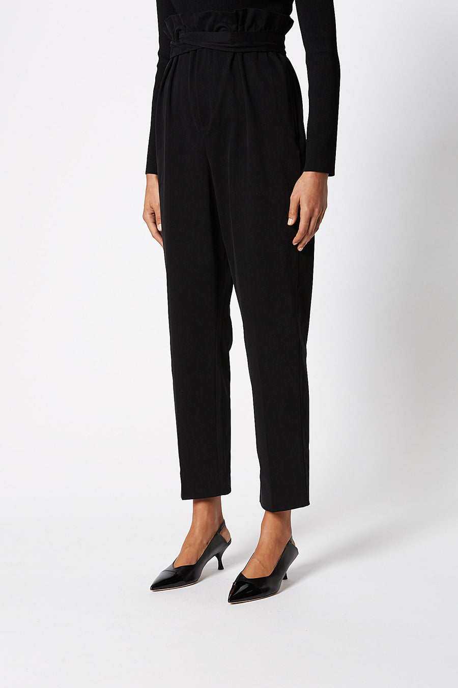 Eyelet Trouser, elastic waistband, high waist, relaxed through hip and thigh, straight leg, Color Black