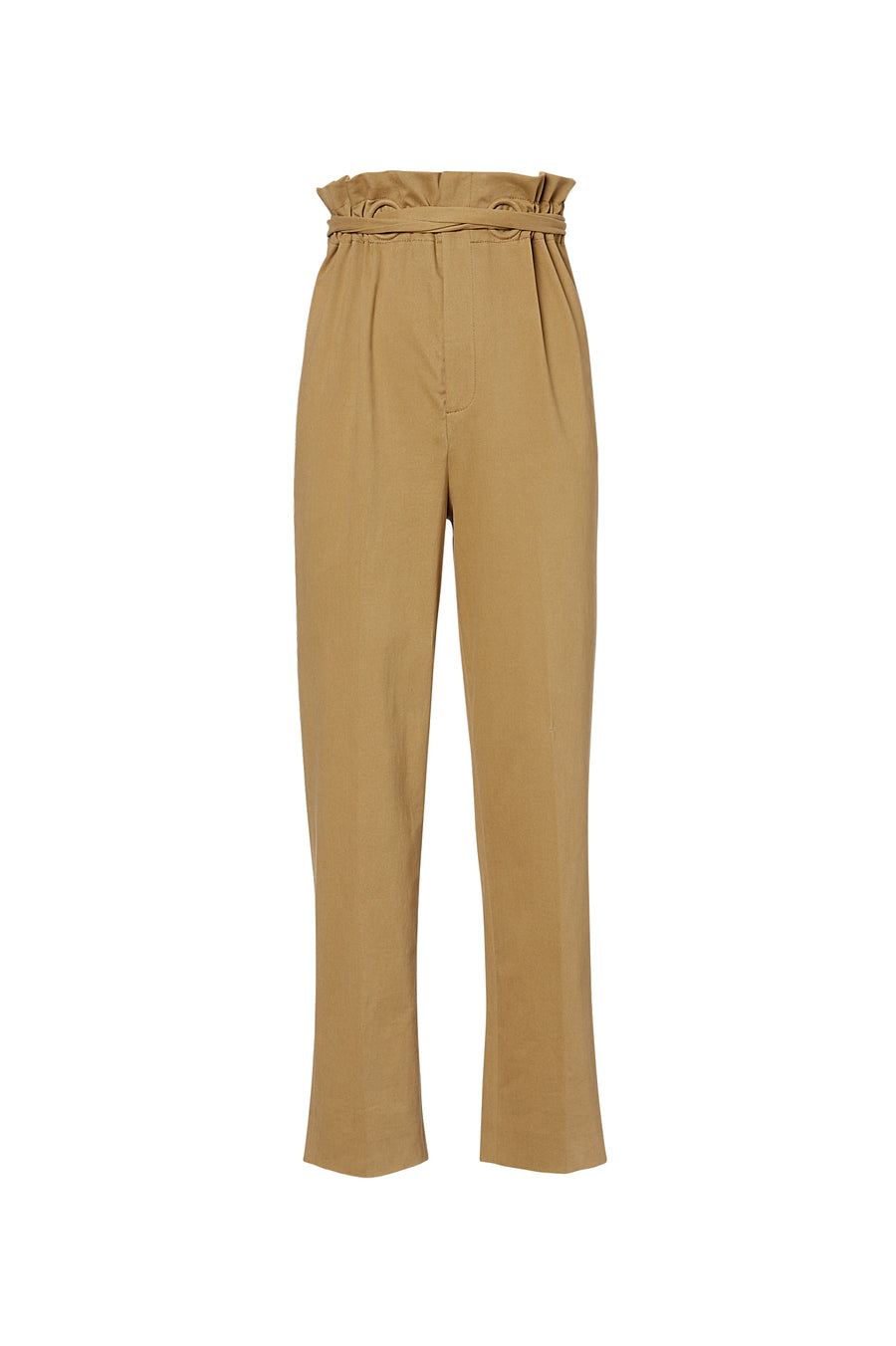 Eyelet Trouser, elastic waistband, high waist, relaxed through hip and thigh, straight leg, Color Camel