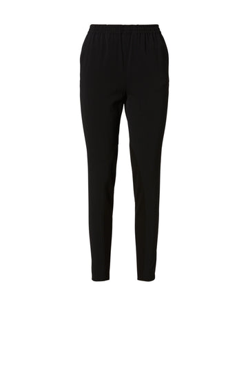 Crepe Trim Trouser, elastic waist band, slim leg silhouette, Color Black