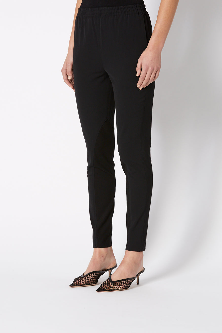CREPE TRIM TROUSER BLACK