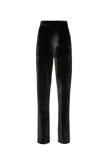 Velour Trouser, high-rise trouser, zip fastenings at front, slim-leg, Elasticated waistband, Color Black
