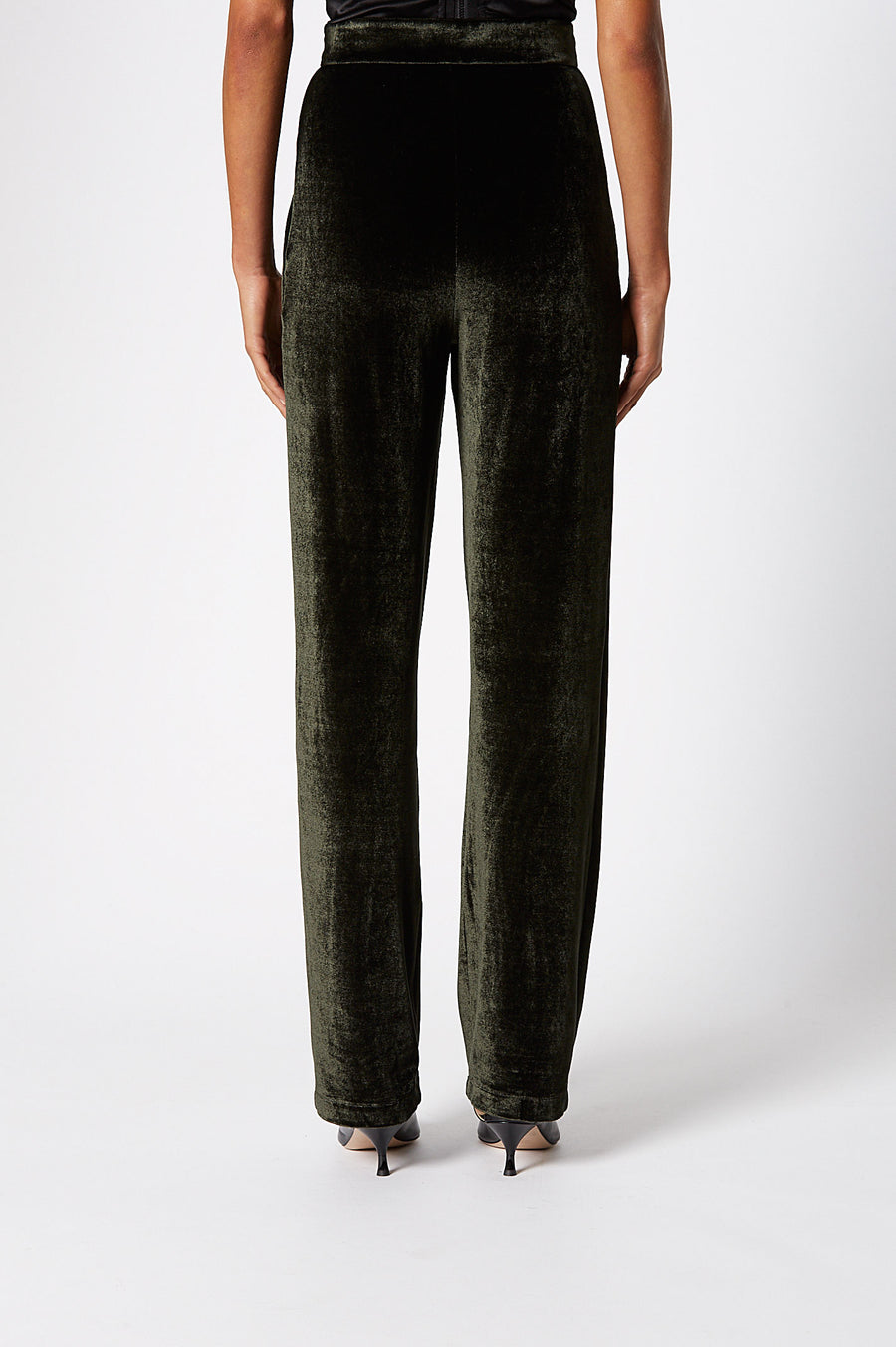 Velour Trouser, high-rise trouser, zip fastenings at front, slim-leg, Elasticated waistband, Color Forest