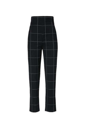 Plaid High Waist Trouser, tailored trouser, sits high on the waist, Color Black