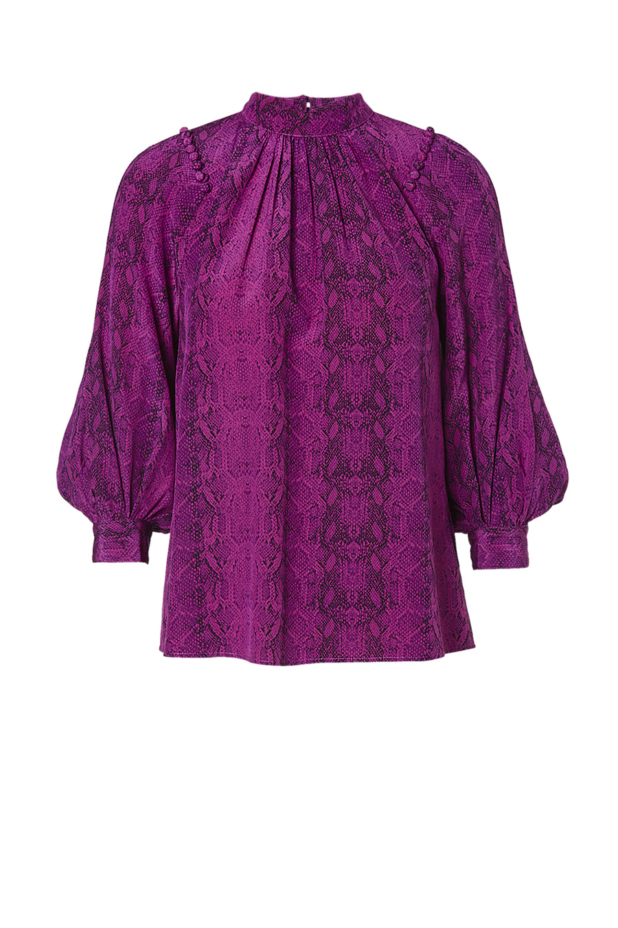 CDC REPTILE BUTTON SHOULDER BLOUSE VIOLET