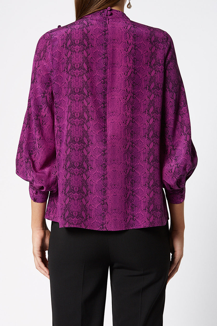 CDC Reptile Button Shoulder Blouse, detailed shoulders, rouched neckline, 3/4 Sleeves, Color Violet