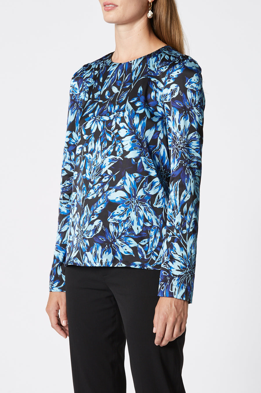 Printed Gathered Top, Long Sleeve, Single Button Fastening at back of Top, Color Cobalt