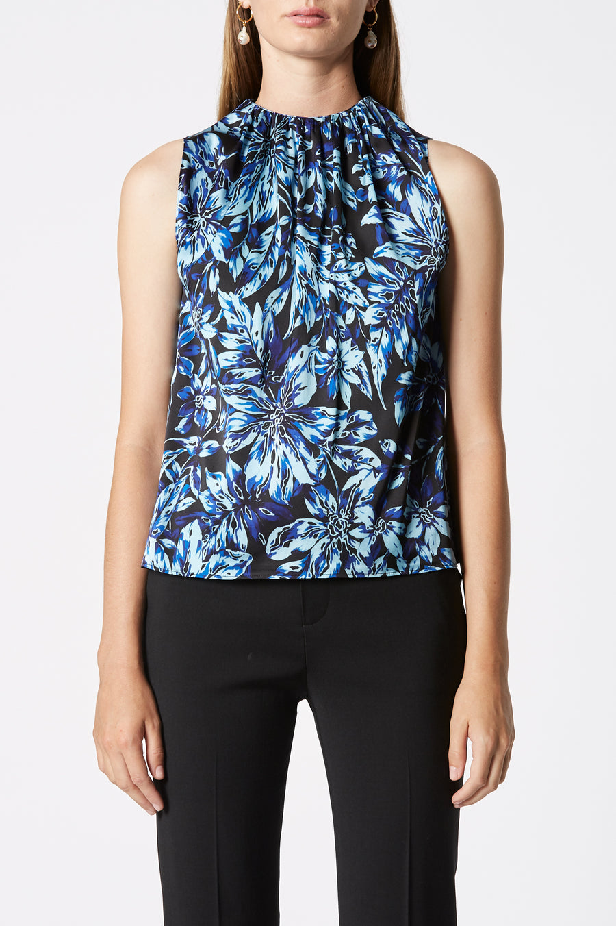 Printed Gathered Neck Tank, gathered high neckline, concealed button fastening on the back, Color Blue