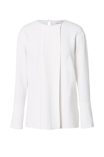 Crepe Cuffed Blouse, cuffed sleeves, panel fold at the front, Color White