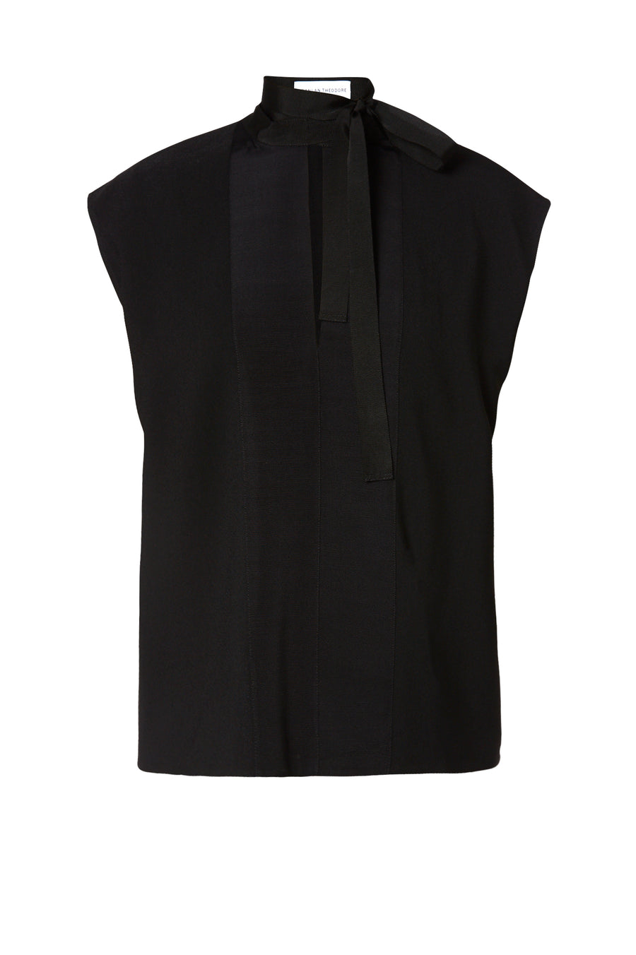Crepe Tie Neck Tank is made from an Italian plant based fabric, tie neck, short sleeve, color black